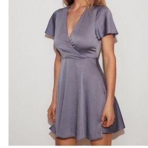 Express light blue satin dress